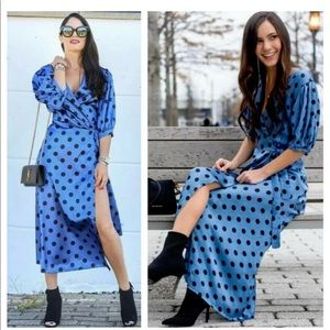 Zara Polka Dot Wrap Dress - Blue